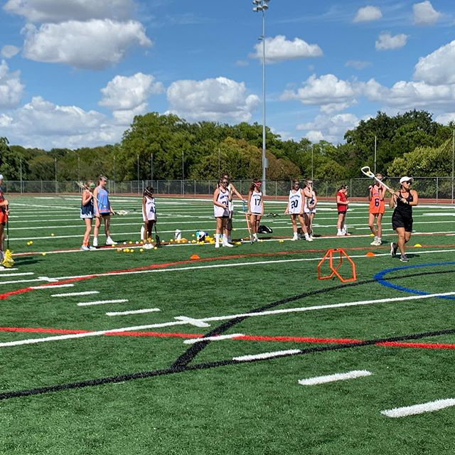 Beautiful day for Coach Ross' youth clinic! Thanks to everyone who came out and to our high school players for all their help. #sticksup #generationtrojan