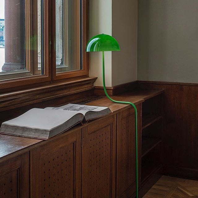 "Infectious personality ~ 💚 ""Designed by Front, the lamp was created to the newly-reopened National museum's library in Stockholm. Curve is Fronts version of the classic green Clerks lamp - a series of lamps that seems to grow and adapt to its surrounding. From the small but heavy base springs the lamp like a sprouting plant or mushroom."""