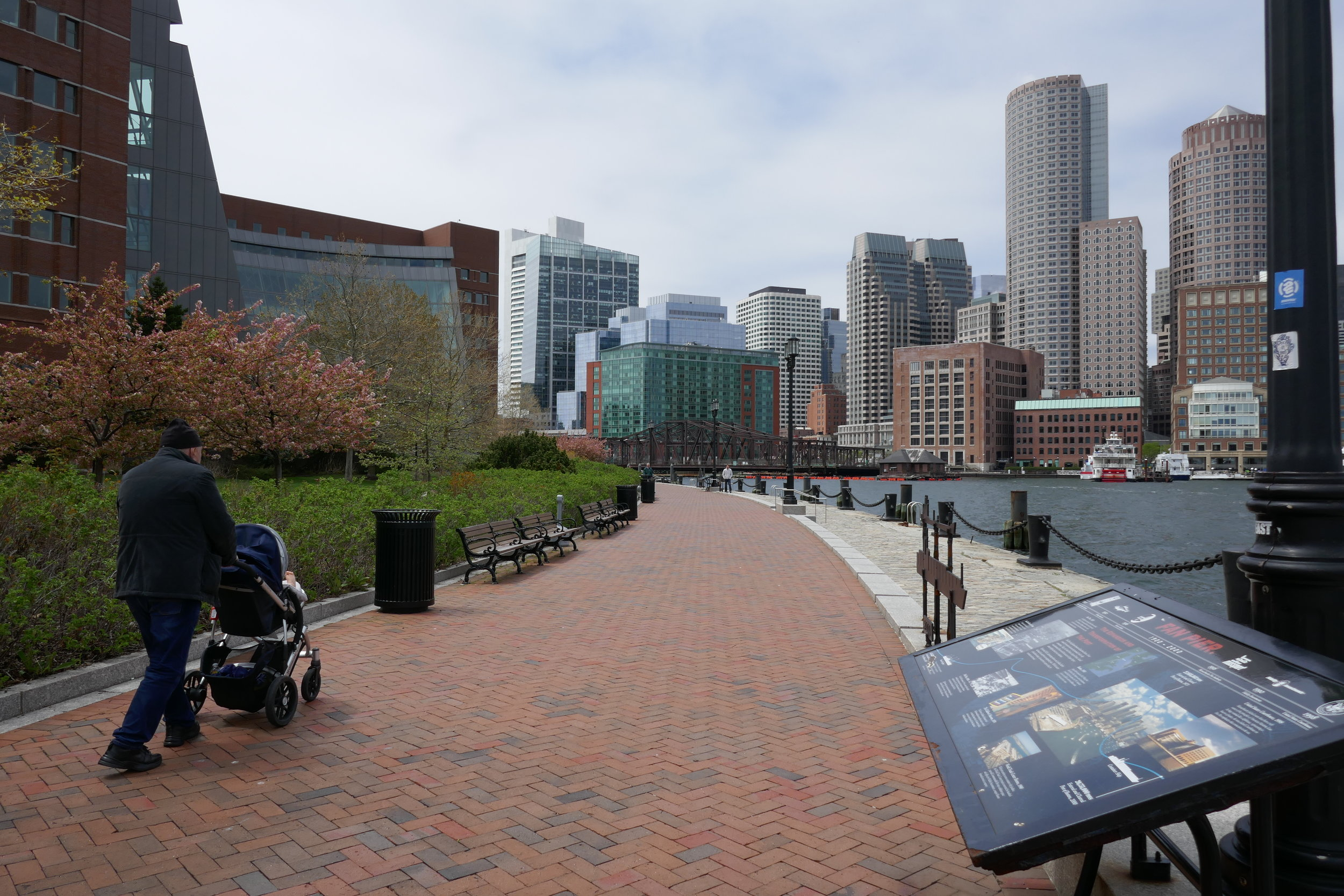 Moakley Courthouse and Boston Harborwalk on the South Boston waterfront; one of the more recent open space additions to the Boston Harbor shoreline. (NEWTONCOURT)