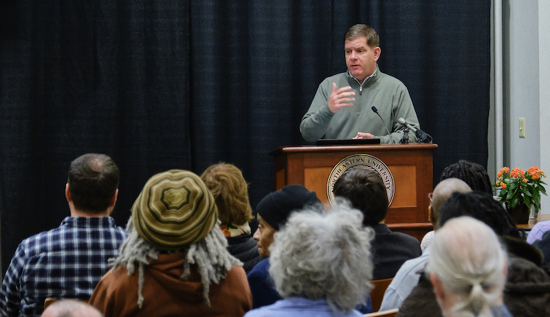 Boston Mayor Martin Walsh attended Saturday's event,delivering the keynoteaddressand presenting the annual Community Garden Awards