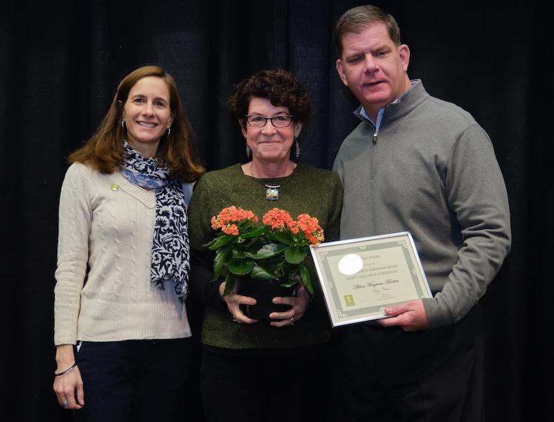 2019 Boston Community Garden Awards Most Valuable Gardener, Althea Wagman-Bolster (center), West Springfield Community Garden