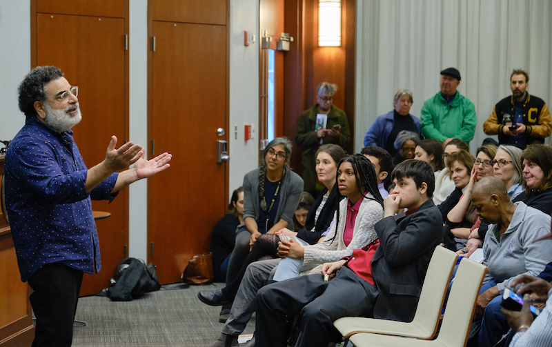 AzizDehkan, Executive Director of the New York City Community Garden Coalition, spoke at the event