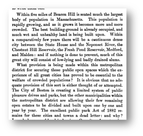 Trustees Founder Charles Eliot outlined his concerns for dwindling public space in the city, in this letter to Governor William Russell in December 1890.