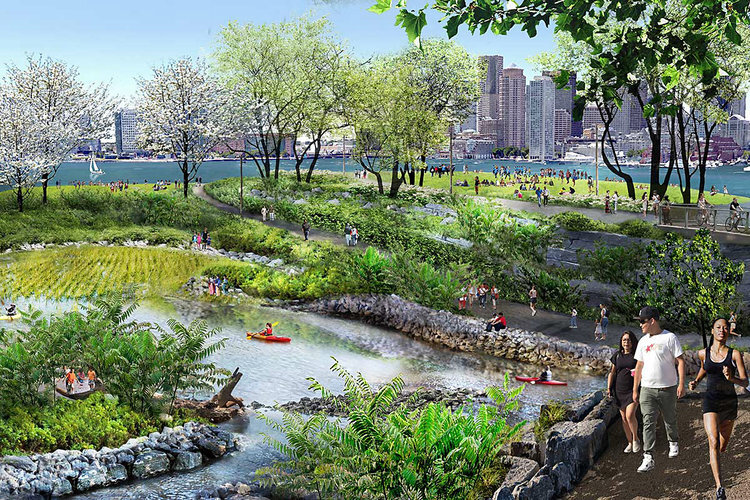 As the Trustees explore potential locations for the One Waterfront Initiative, we evaluate sites based on (1) the potential to serve as a world-class destination, (2) community need and relevance, (3) climate resilience value, and (4) feasibility (Rendering courtesy Michael Van Valkenburgh Associates, Inc.)