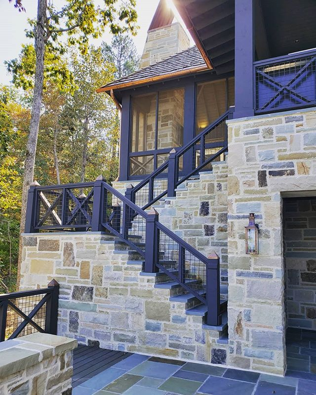 Happy Friday!  Bring on that cooler weather! #screenporch #stone #copper #fireplace #outdoorlife #mcguirebuilt