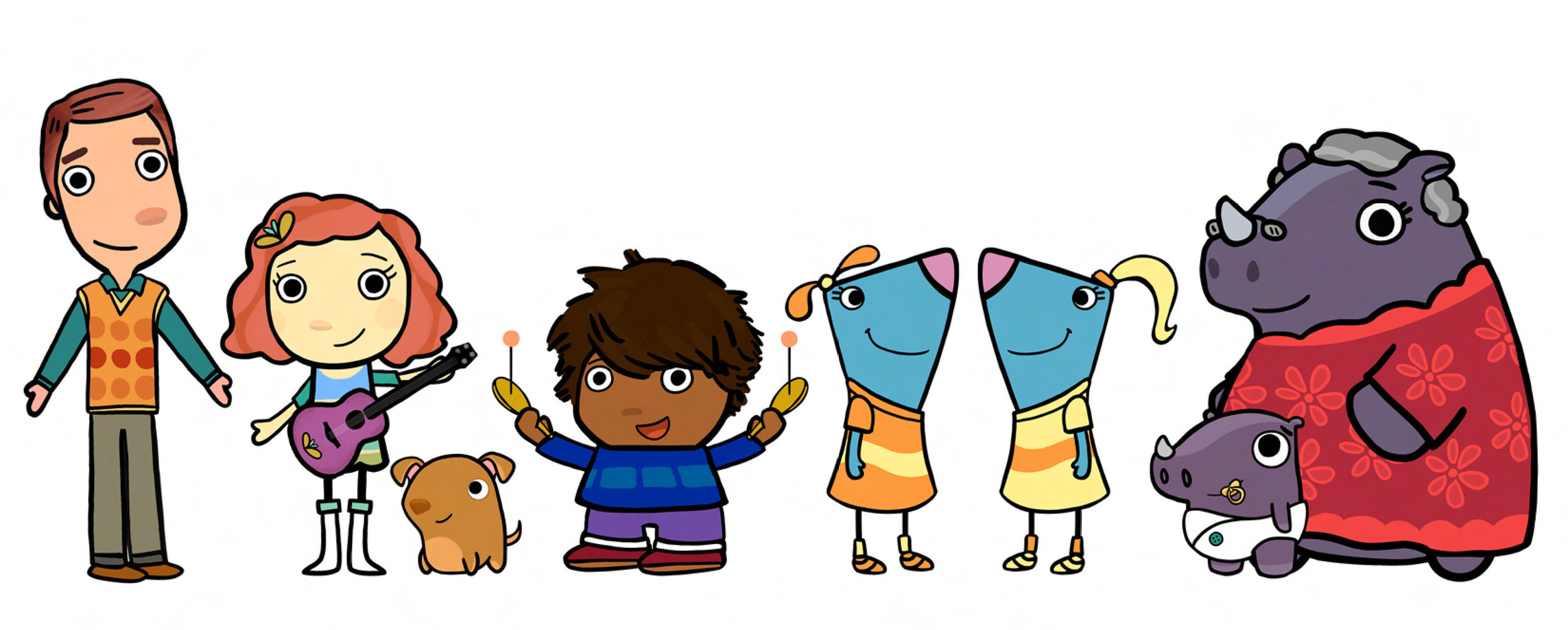 "Character designs for ""Sing it, Laurie!"" show on Sprout with Little Airplane Productions and Laurie Berkner"