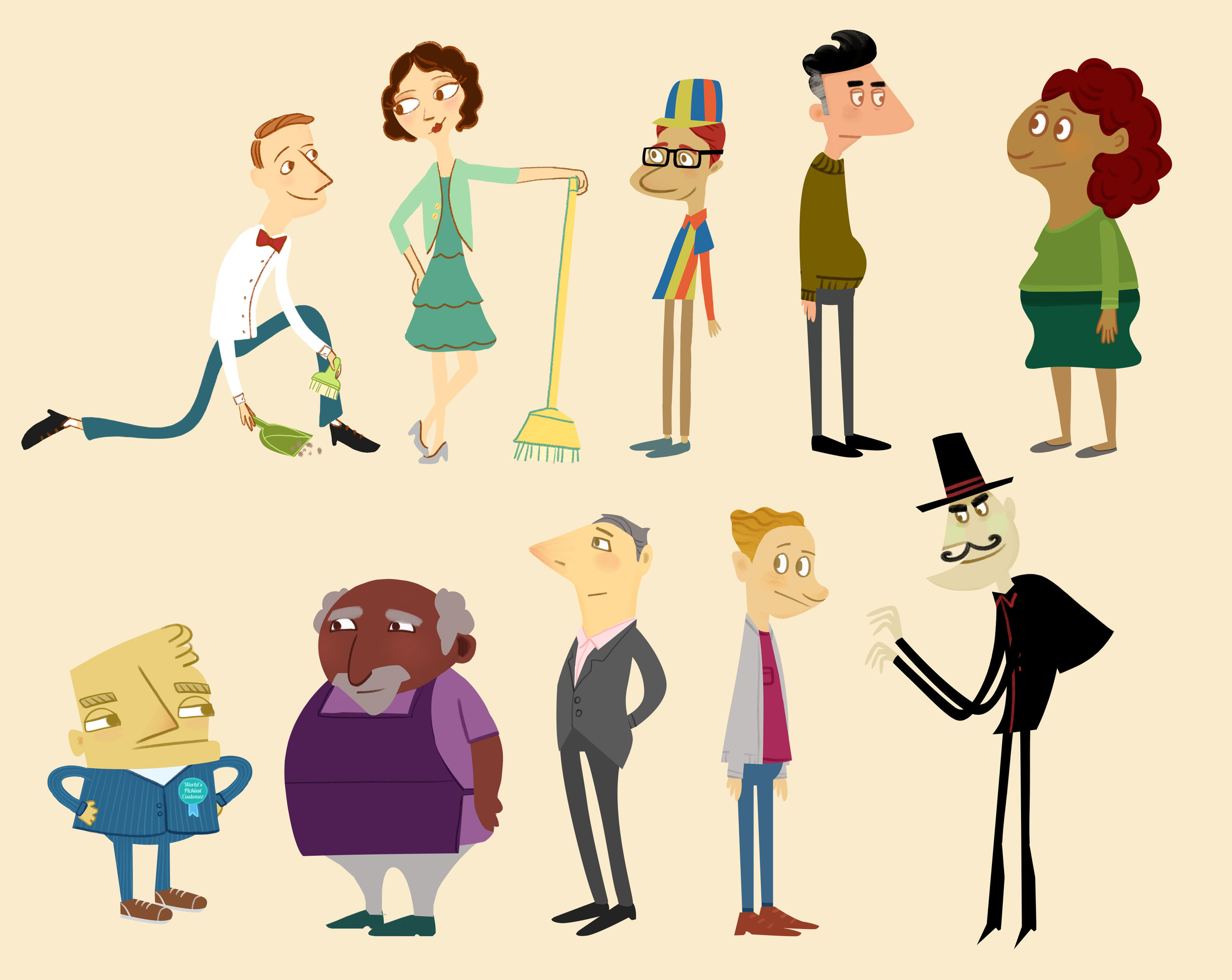 "Character designs for """"Hot Shoppe"" video series for Marriott Hotels with FableVision Studios"