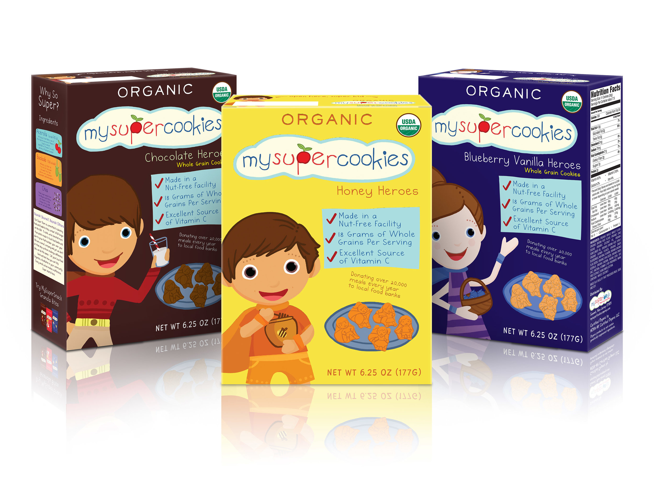 Character, logo and package design for MySuperFoods Company