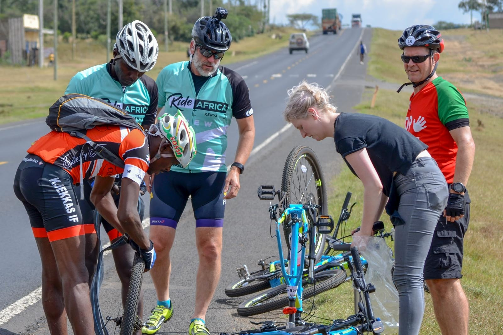 Cycle guides and mechanics - We have a substantial team travelling with you at all times. If you get a puncture, if you're struggling… they'll know it and be on hand to help you, and take care of our bike.