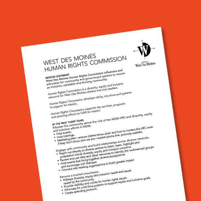 West Des Moines Human Rights Commission Strategic Plan