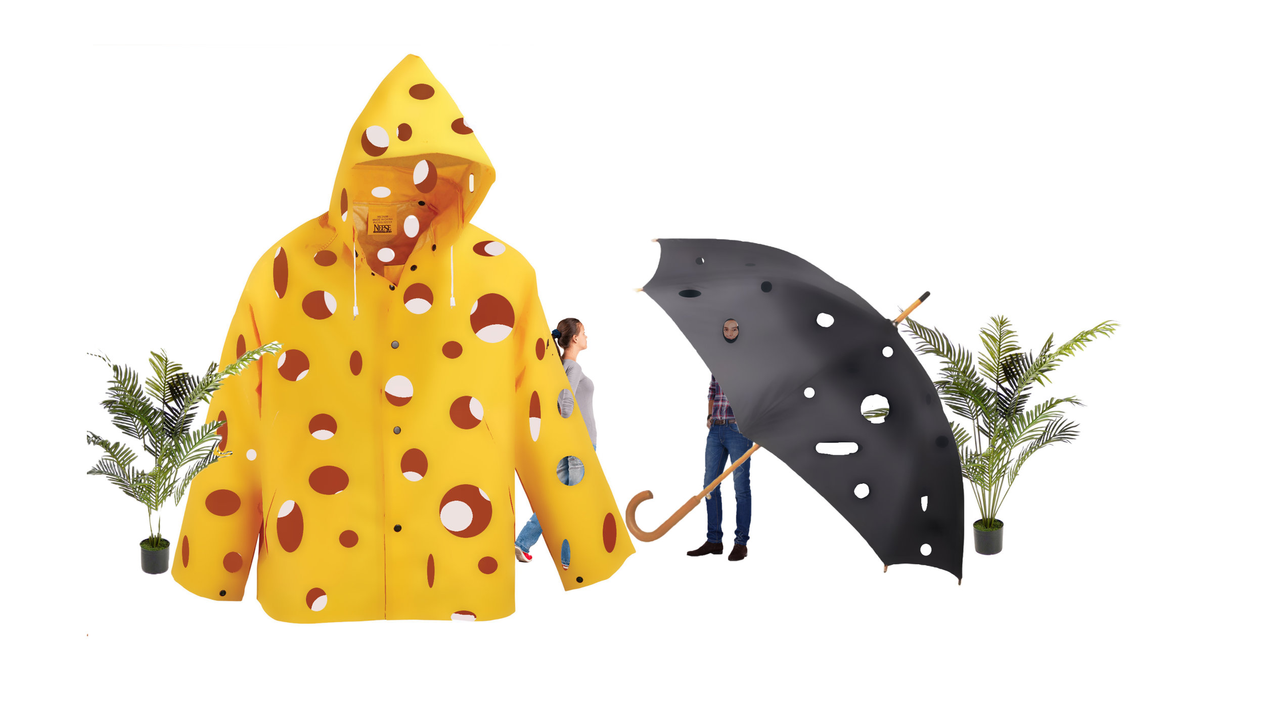 raincoat with holes in it and an umbrella with holes in it and some plants.jpg