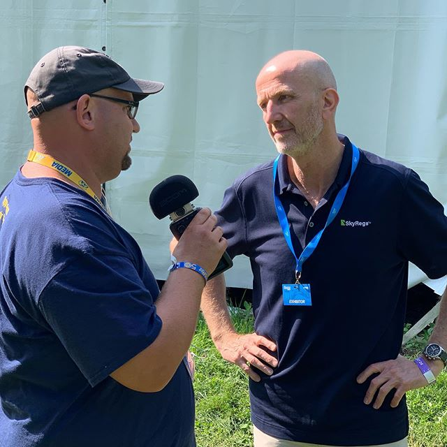 We just wrapped our presser at the media center! Here's Rich King, Director of Aviation Software, with the Opposing Bases podcast talking SkyRegs for an upcoming episode. #osh19 