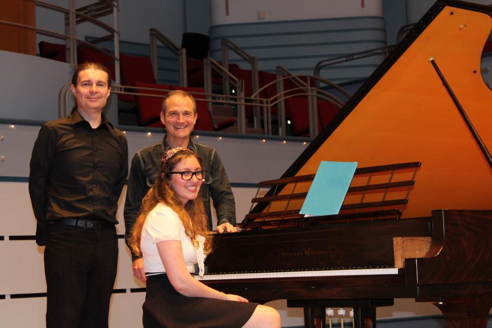 Jean Bogan Senior Prize Winner Scott McIntyre, Jean Bogan Youth Prize Winner Elizabeth Younan and Australian pianist Michael Kieran Harvey