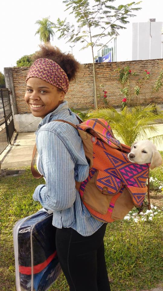 The day I got my sweet little Luna. I had to do the  7 kilometer bike home with her in my backpack like this.