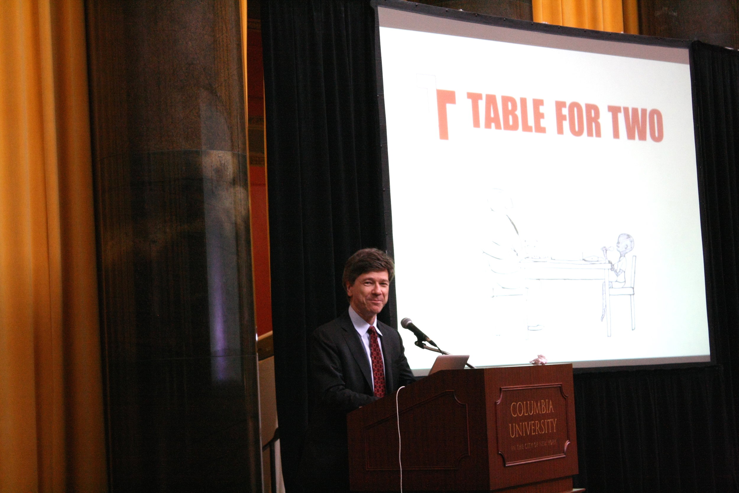 TABLE FOR TWO USA launch event at Columbia University with Prof. Jeffrey Sachs