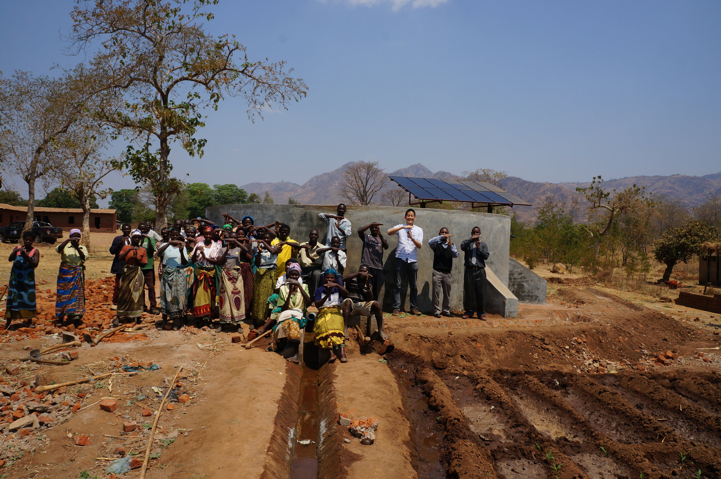 Sustainable school garden with an irrigation pump powered by solar energy