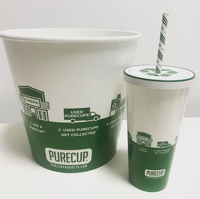 #Recyclable paper cup, paper lid, paper straw and paper popcorn bucket; all made with #earthcoating