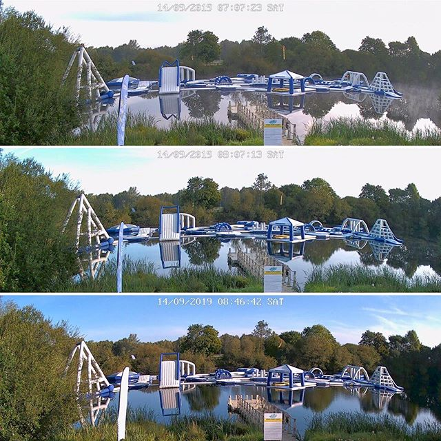 Three stages of #sunrise on a #crisp autumn morning. Cold air + warm water = steamy start then the #aquapark re-pressurises as the air temp🌡rises #oneforthegeeks #gonnabeahotone #cctv