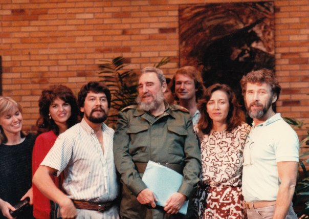 Louis F Molina with Maria Shriver and Fidel Castro during an interview for NBC News in Havana, Cuba.