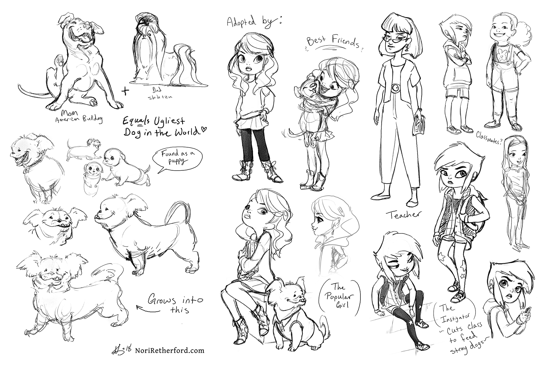 Character design exploration for a sequence about some middle schoolers and a dog - style inspired by Middle School Moguls, but tried to make it more animatable (2018)