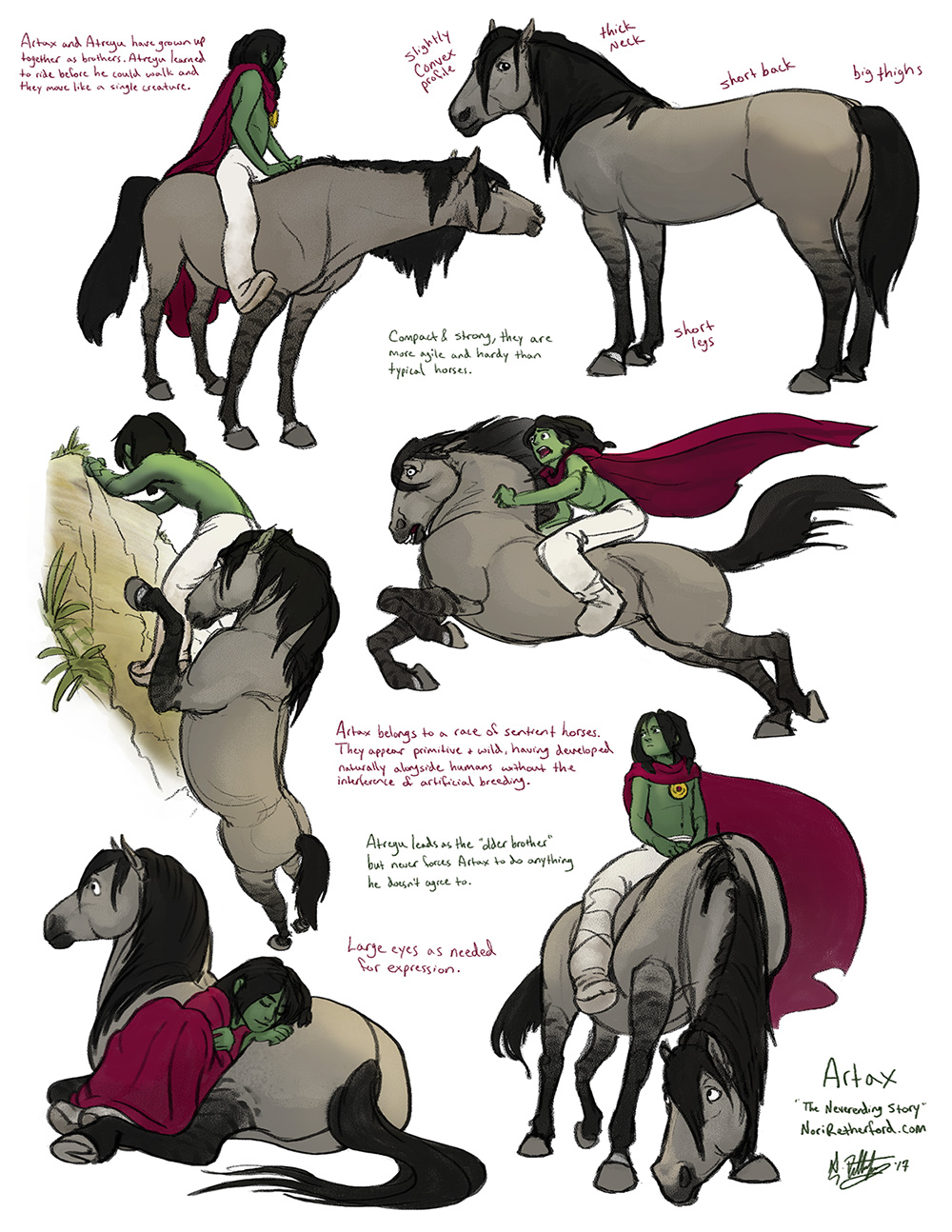 This was my first pass at finding designs for Atreyu and Artax to get on with storyboarding. Not much stylization going on here - Atreyu's appearance is almost straight from the book and Artax is just a horse. I tried to make them look related.