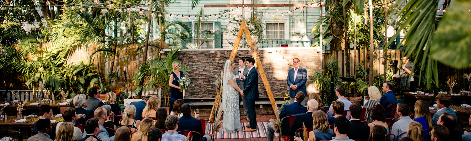 wedding ceremony in the canopy garden at first flight in key west