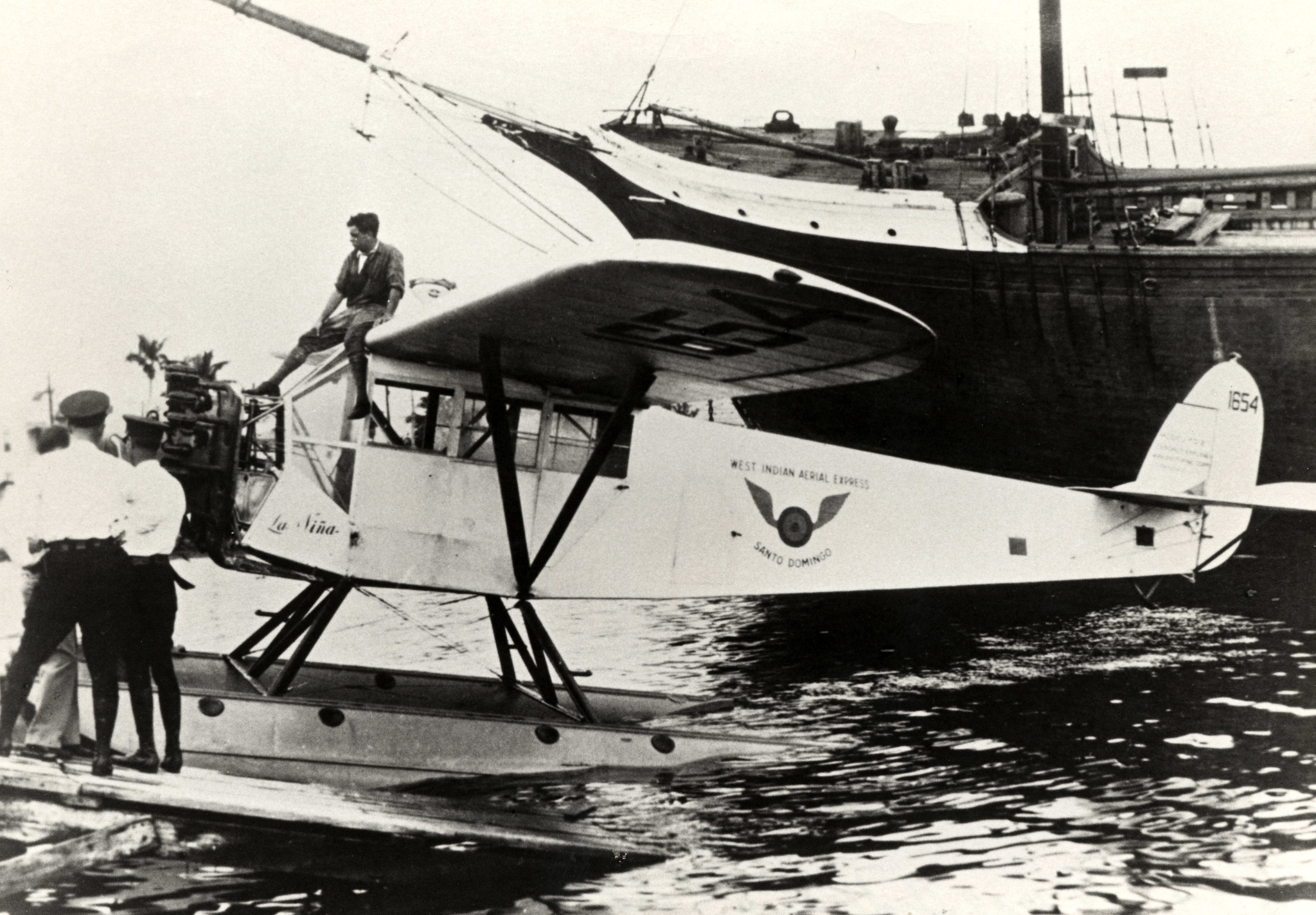 Cy Caldwell sitting on the plane La Nina before making the first flight from Key West to Havana for Pan American Airways on October 19, 1927. Monroe County Library Collection.
