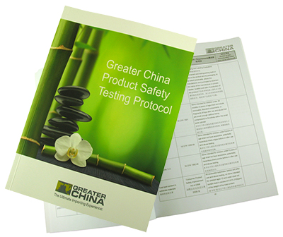 Greater China Product Safety Testing Booklet:   Greater China is committed to product safety! In addition to developing testing protocols for every order we take and hosting periodic vendor training seminars, we have created our own Product Safety Booklet. These booklets are distributed to our core and non core vendors as a guideline to follow when working with Greater China. The information includes common product protocols and material from our vendor training seminars. As regulations change and evolve we will update this guide periodically for vendor use. A few of the many areas are as follows: