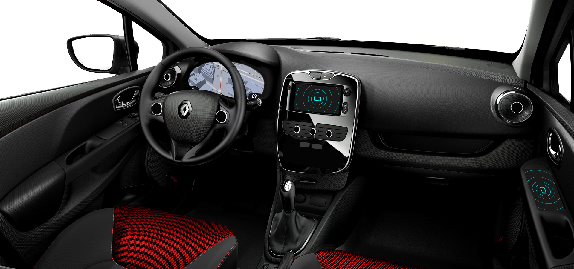 The interior has two access points where smartphones can be placed