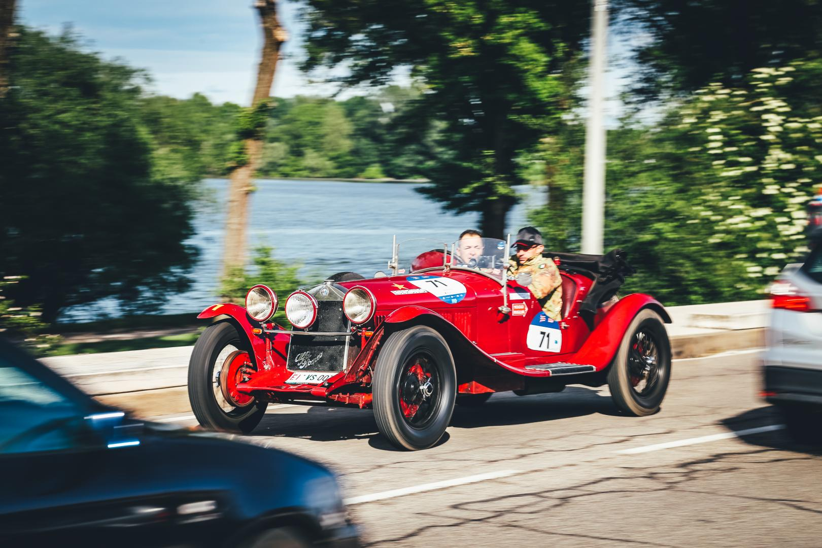 An Alfa Romeo 6C 1500 during the 2019 Mille Miglia