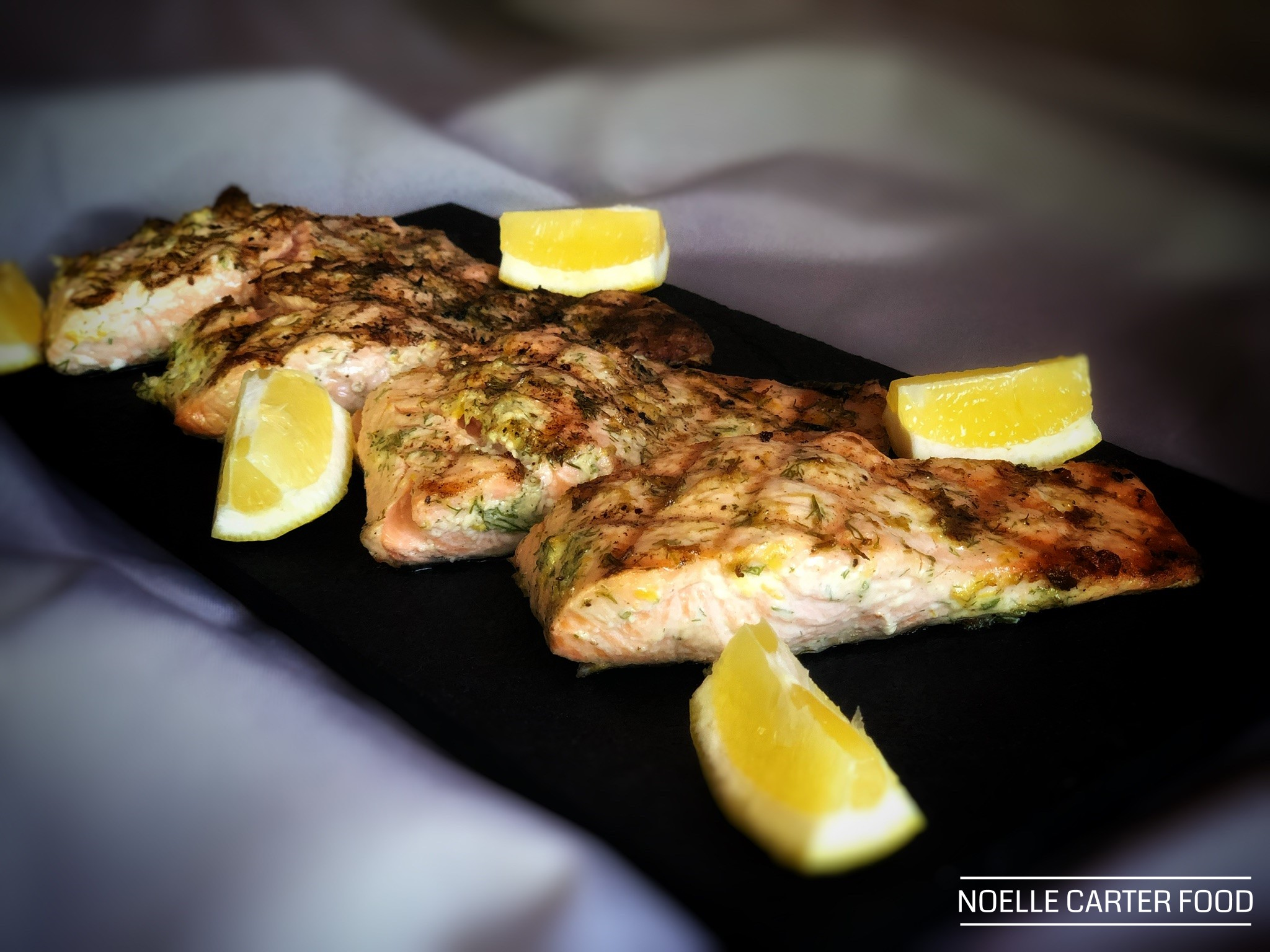Grilled salmon with lemon and dill. (Noelle Carter)