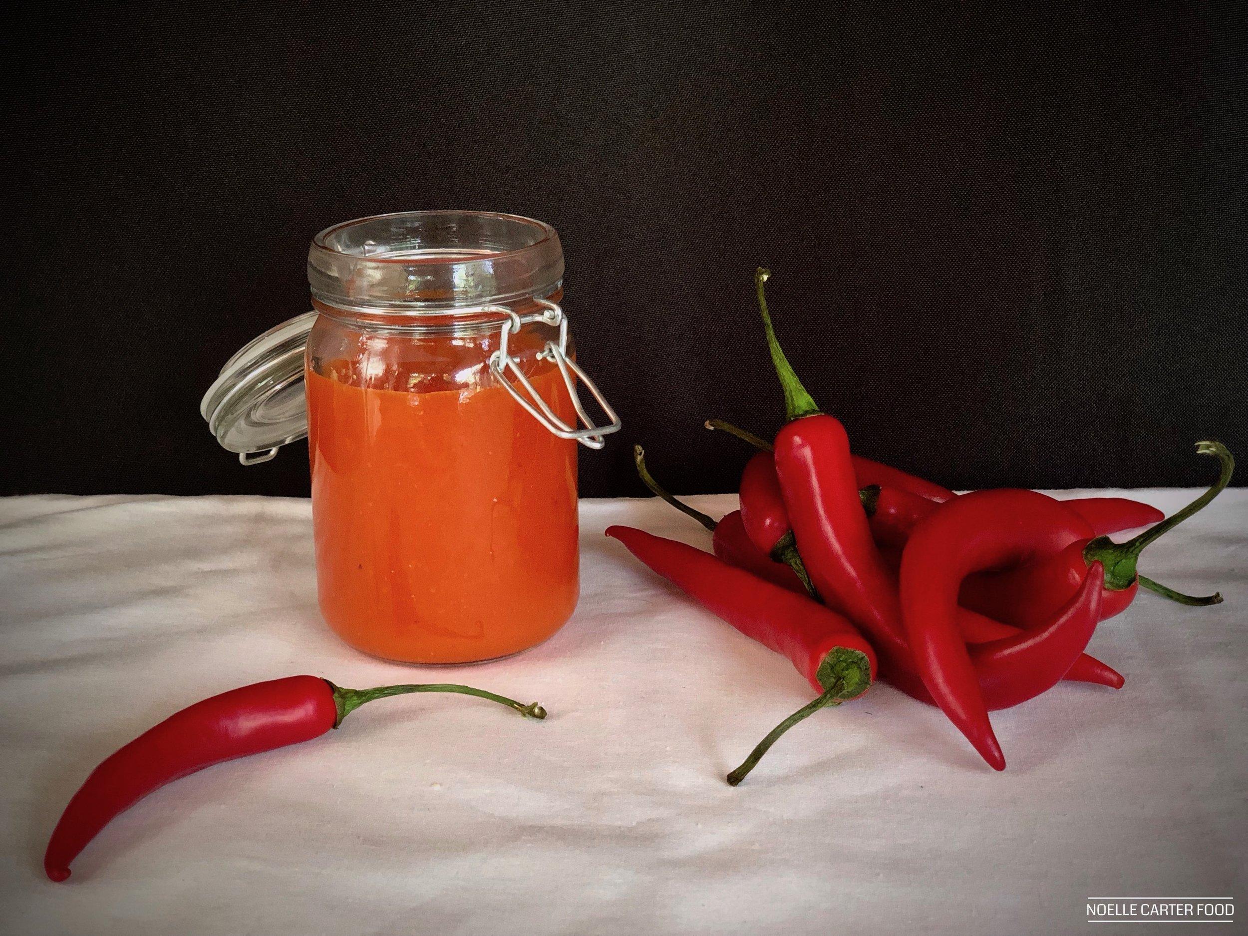 Homemade sriracha-style hot sauce. (Noelle Carter)