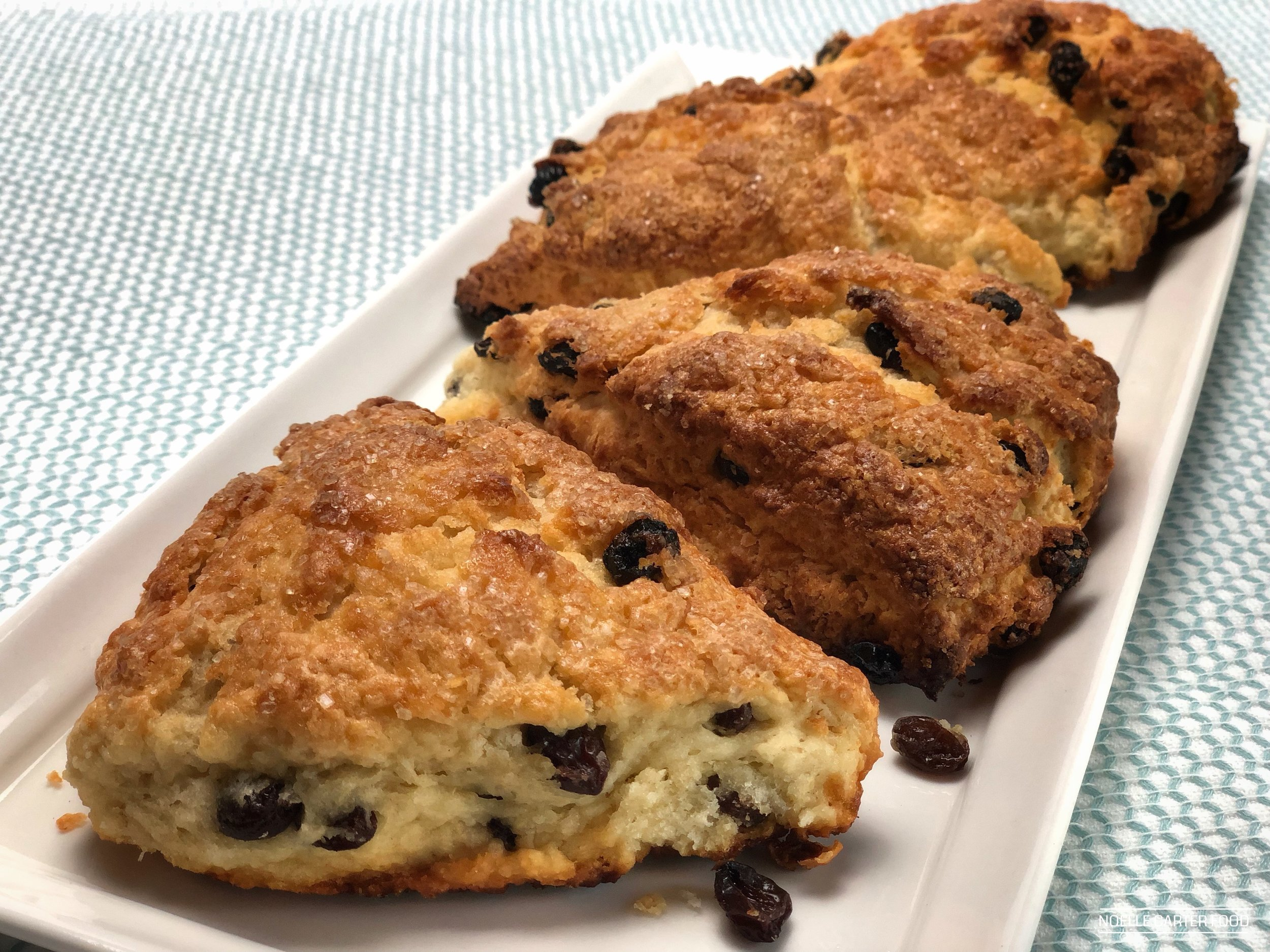 Ginger rum raisin scones. (Noelle Carter)