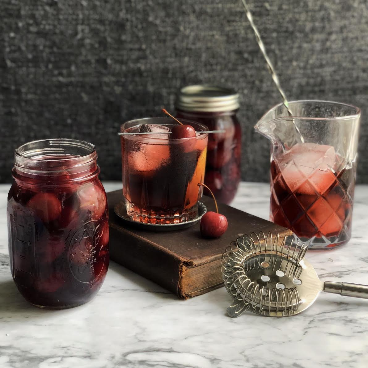 Homemade maraschino cherries and cherry Negroni cocktail. (Dylan Simmons)
