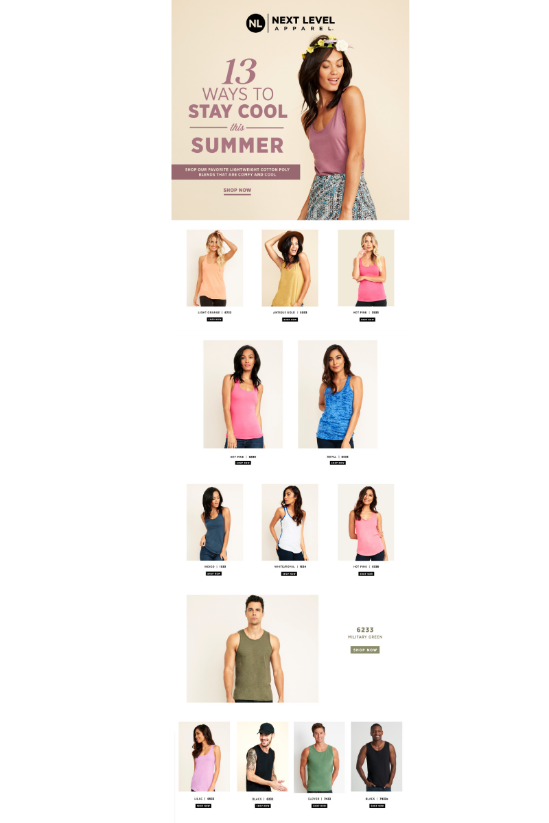 Next Level makes tank tops-a-plenty, perfect for festivals and festival-like outings.