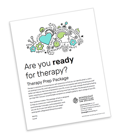 "Therapy Prep Package : an 8 page PDF with a weekly mood-chart, an ""Am I ready?"" checklist, and a daily experience journal."