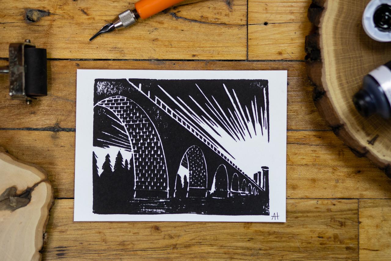 "Stone Arch Bridge Linoleum Print; 5""x7"". 2017. Available for purchase through shop."