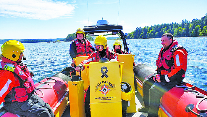RCMSAR members, from left, Stella Pingle, Mike Murphy, Kaylee Lapierre, Erin Kelly and Paul FitzZaland respond to a tasking on Wednesday, May 8. Pingle, Lapierre and Kelly are junior members who were training with regular unit members at the time.