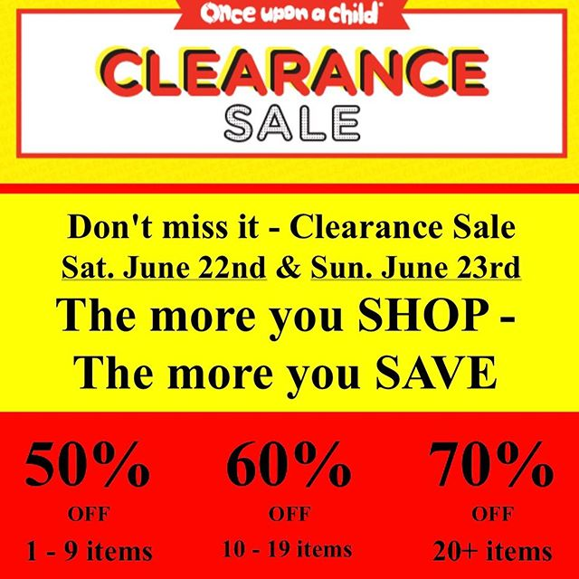 2nd day of CLEARANCE SALE - Sunday June 23rd. All RED tagged merchandise. The more you shop. The more you save. #mom #reducereuserecycle #ouac #strongmom #clearancesale #clearance #yycsale #yyckids