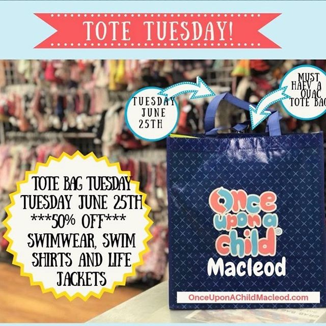 Tote Bag Tuesday June 25th. Bring your OUAC tote bag and enjoy 50% off all swimwear, swim shirt and life jackets.