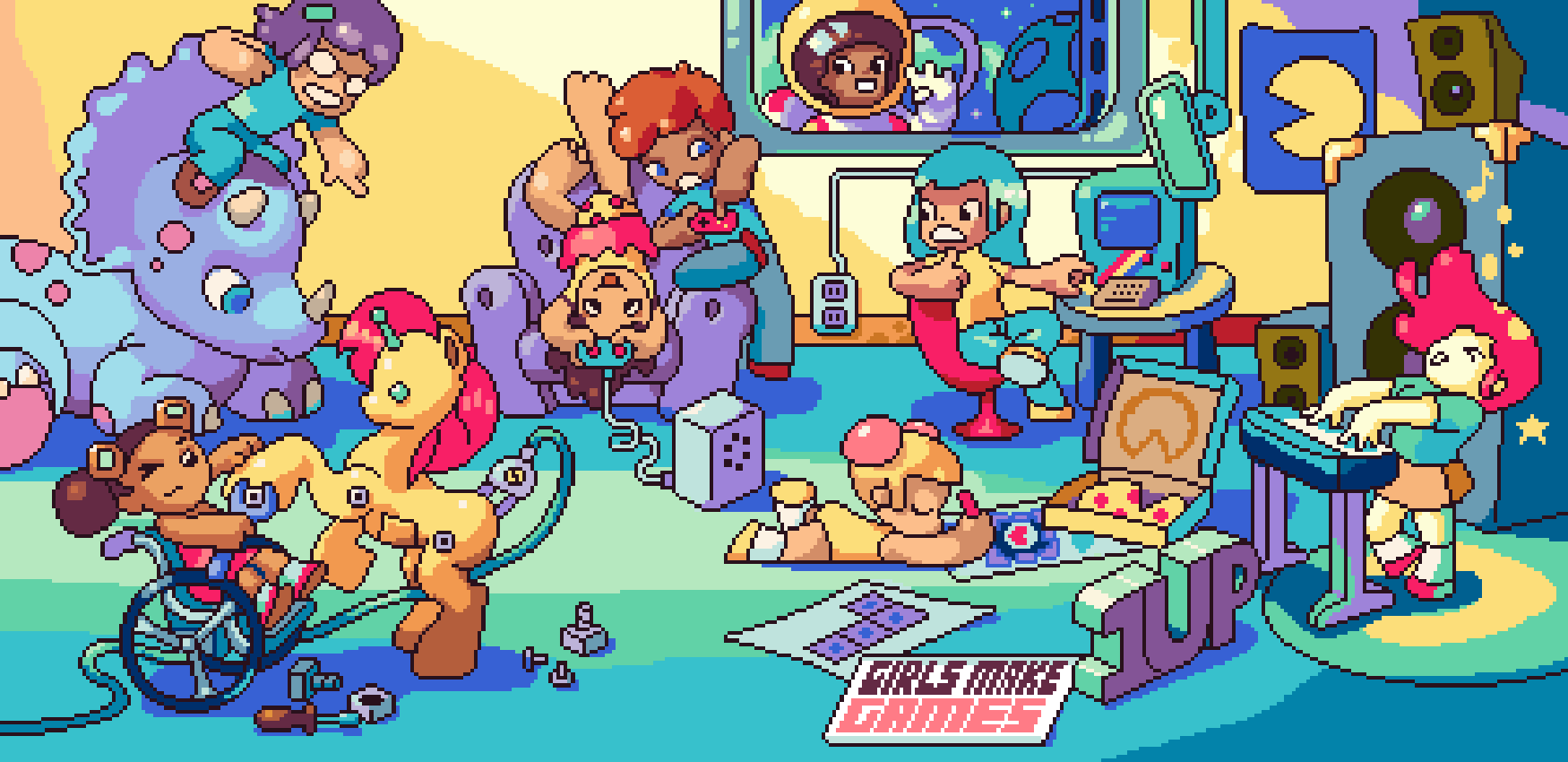 Girls Make Games poster created and donated by Christina Neofotistou (@castpixel)