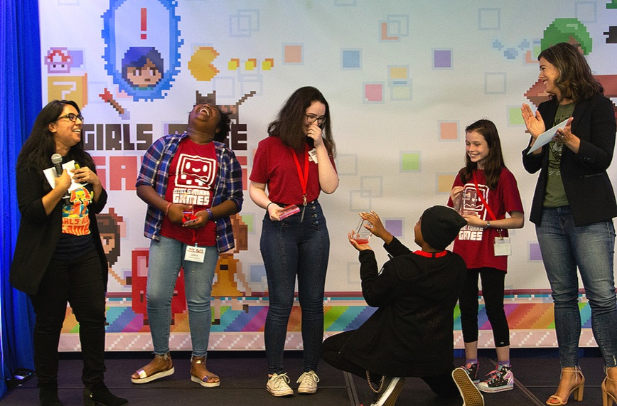 Team Members: Avalon B., Leah R., Jack K., Maeve R. Demo Day Award: Most Artistic, presented by Devon Pritchard, EVP Business Affairs, Nintendo of America