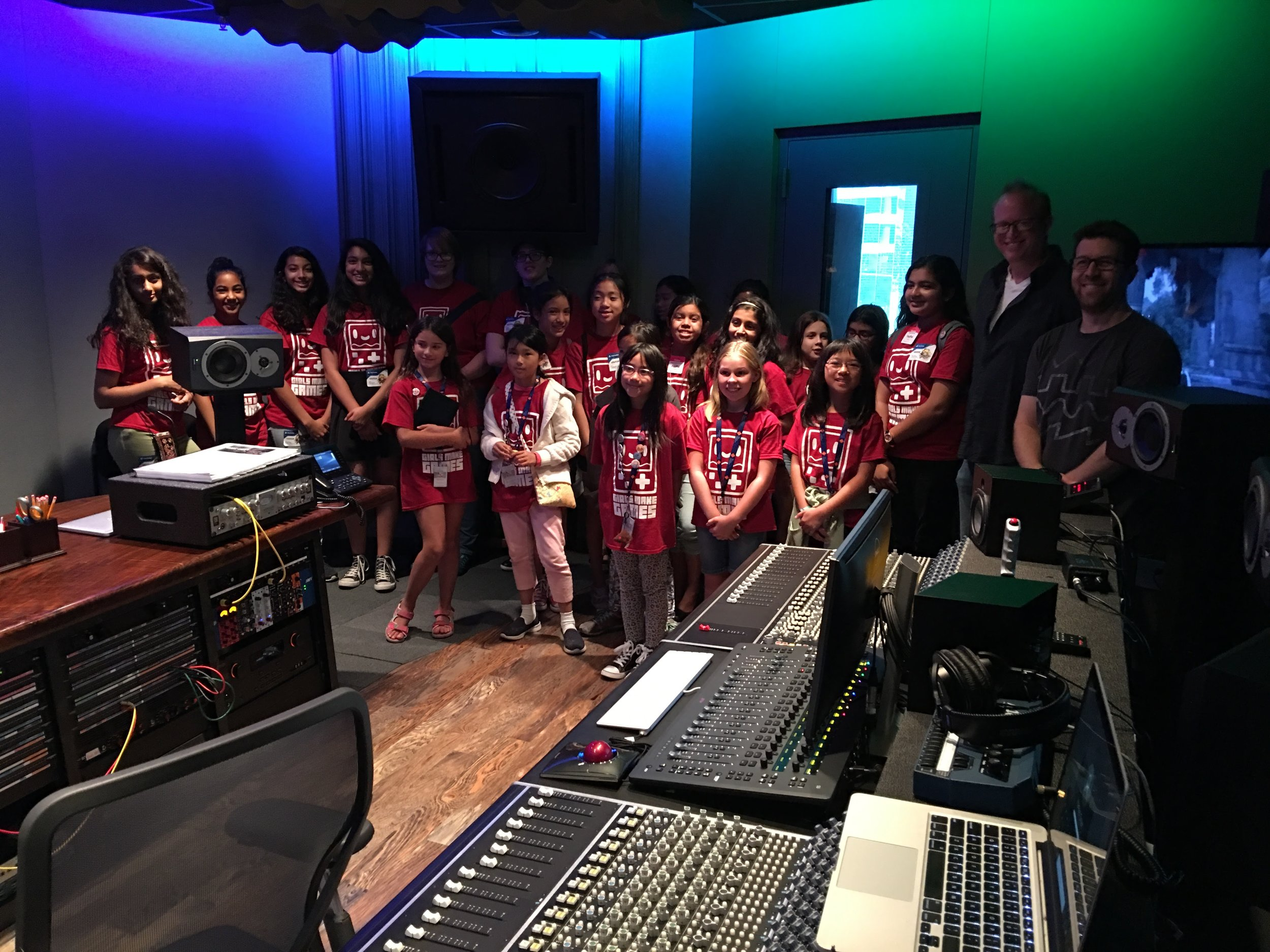 Campers at the 2018 PlayStation field trip, visiting the very cool Music Room!