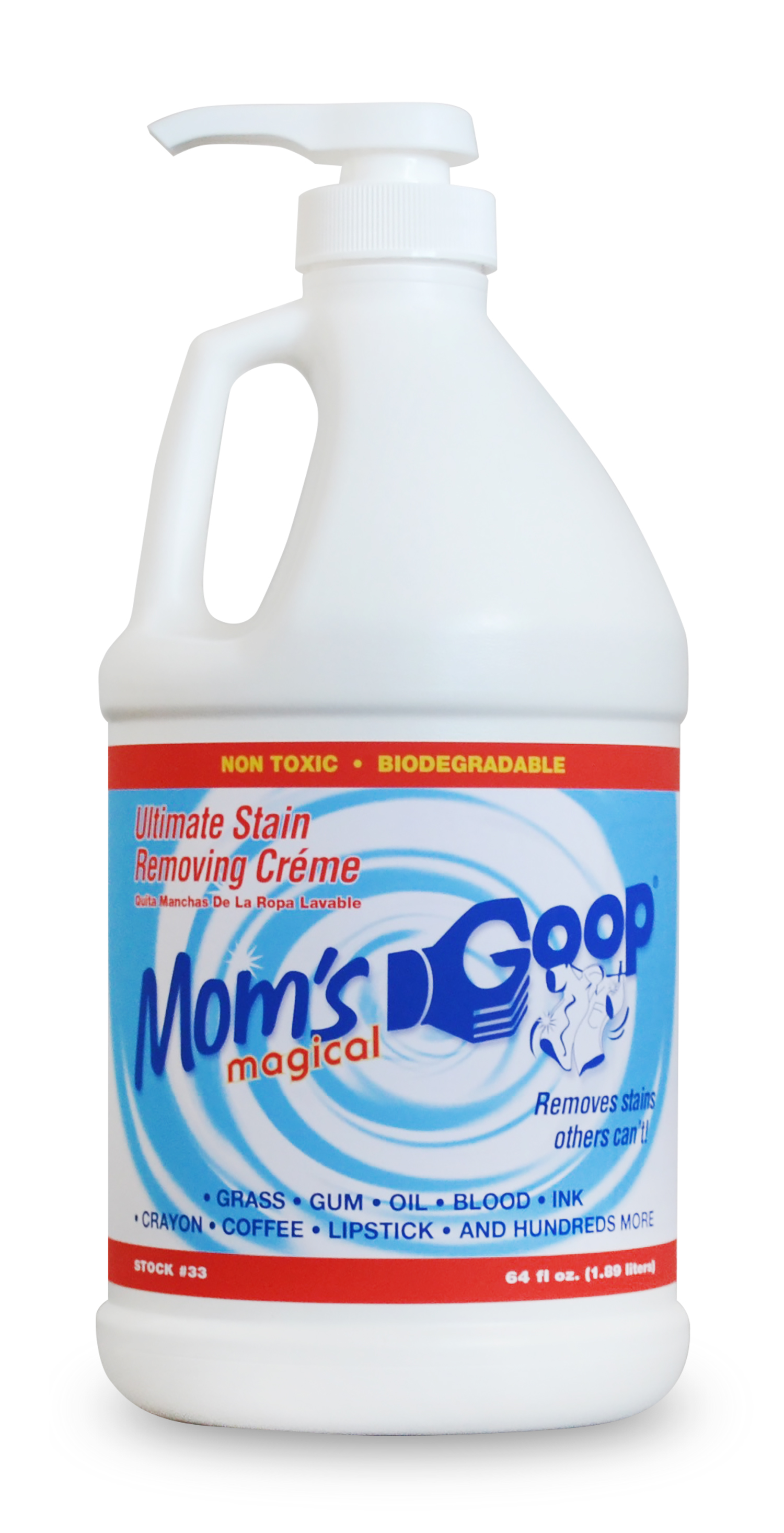 Mom's Goop Liquid Stain Remover, Gallon Bottle with Pump