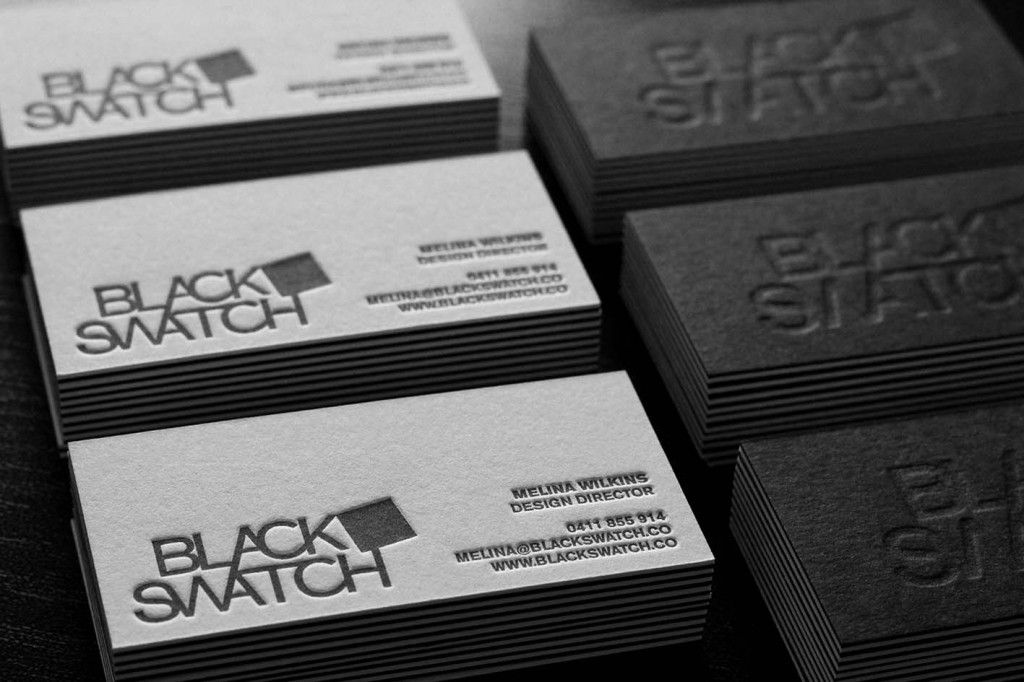 BLACK SWATCH DOUBLE SIDED BUSINESS CARDS | BLACK INK LETTERPRESS ON WHITE CARD + BACK BLACK CARD