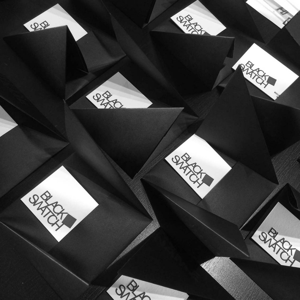 BLACK SWATCH | SELF PROMO | PRINTED BLACK ON BLACK FOLDER TO INSERT LETTERPRESS CARDS