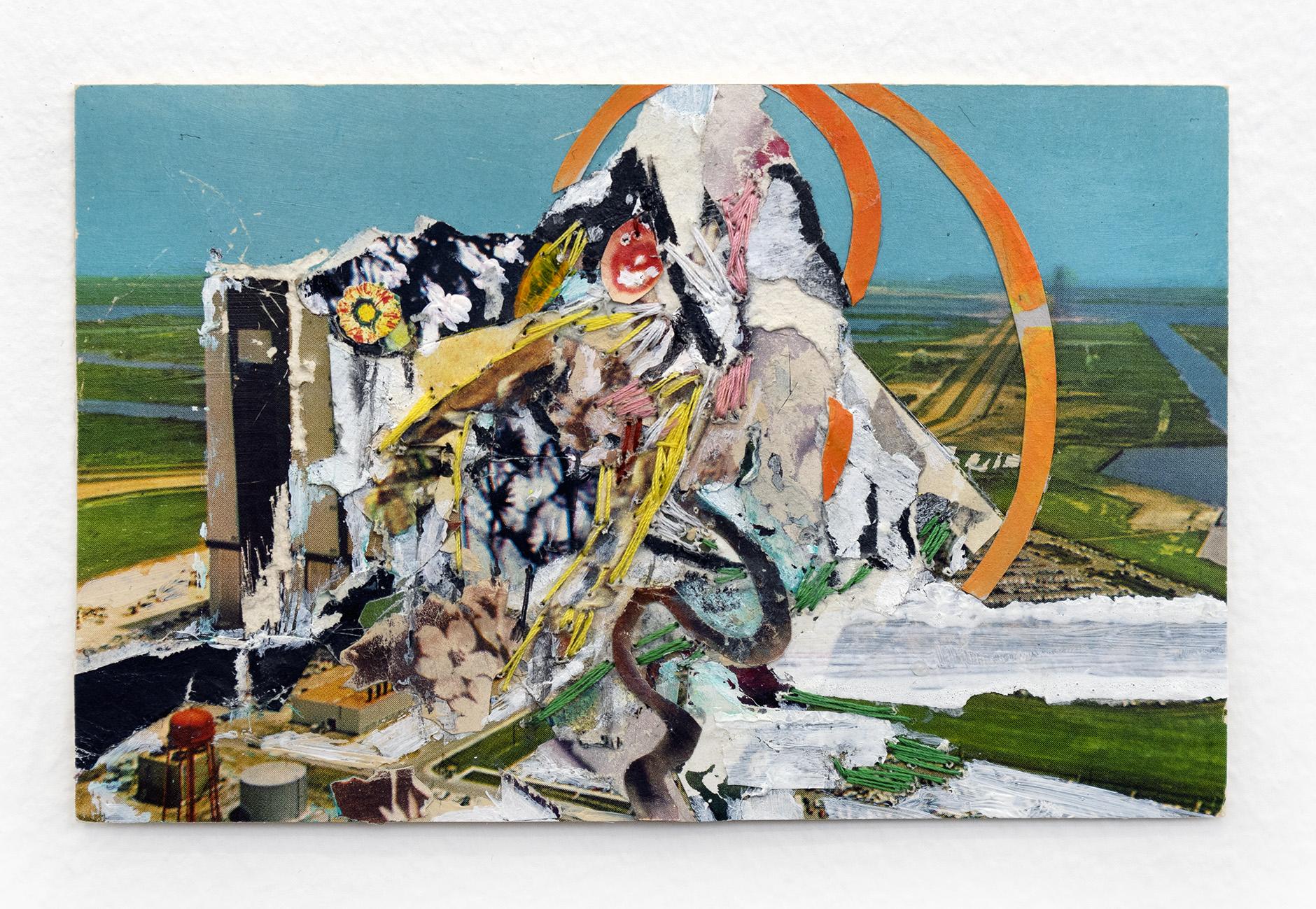 "Radiating Pile (sold) 2018 Collage on vintage postcard, UV glaze 3 1/2 x 5 1/2"""