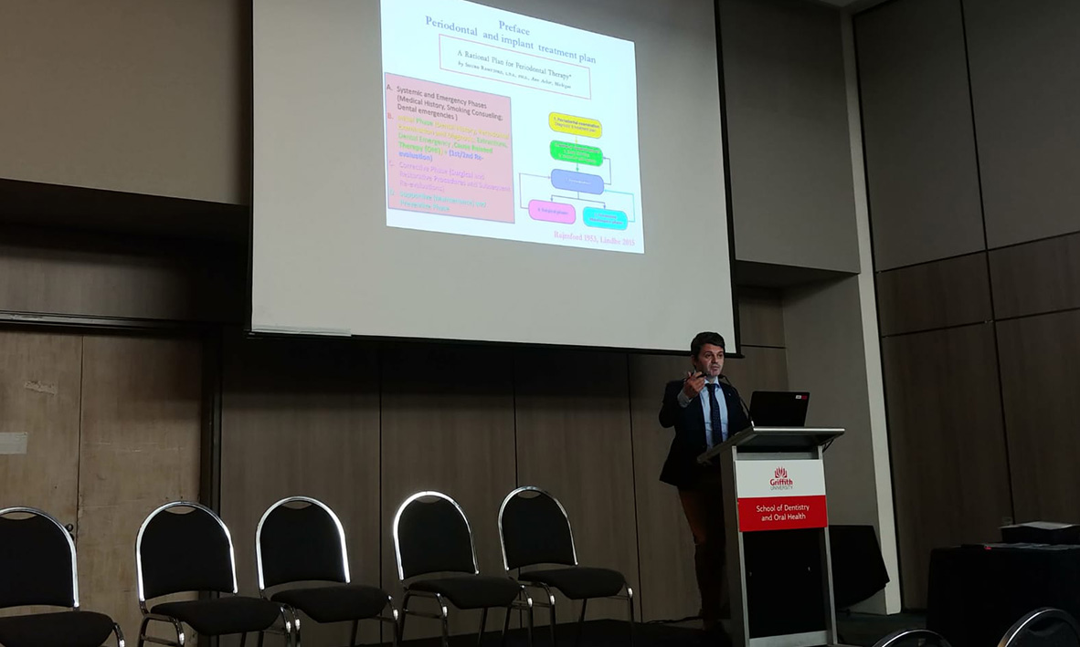 Prof Quaranta, invited keynote speaker at the DOH Griffith University Research Day.  Aug, 2018