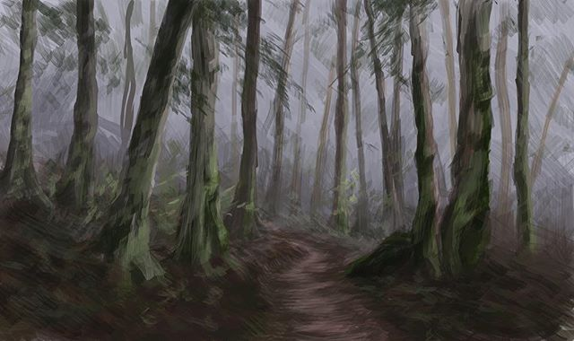 Slowwwly getting my art up on insta. Used as background in one of my animations •••••••••••••• #digitalpainting #conceptart #digitalartists #forest #trail #greenery #trees #animation
