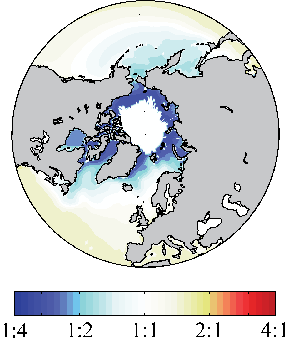 Suppression of picoplankton biomass by harsh conditions in the Arctic. Warming will likely drive a poleward expansion of these tiny cells.